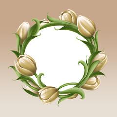 white tulips illustration, vintage round floral frame