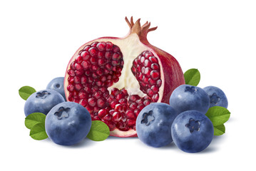 Blueberry and pomegranate half isolated on white background