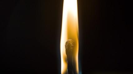 Burning fire wooden match, macro