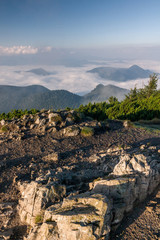 Morning above the clouds on summer mountain ridge - Slovakia