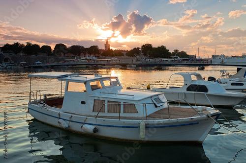 Keuken foto achterwand Antwerpen Sonnenuntergang in Zadar, Kroatien