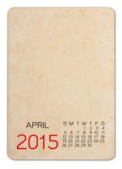 Calendar 2015 on the Empty old photo