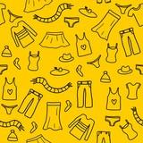 Clothes background - doodle art poster