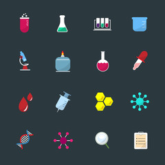 Science Equipment and Lab color Icons set