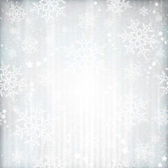 Silver winter, Christmas background with snowflake star pattern