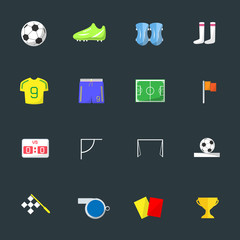 Soccer Color icons on black background