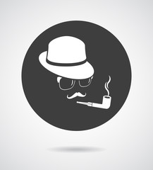 Smoking gentleman. Vintage design elements set like icon