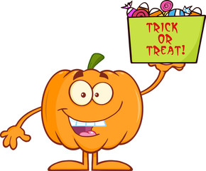 Smiling Halloween Pumpkin Holds A Box With Candy And Text
