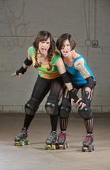Aggressive Roller Derby Skaters