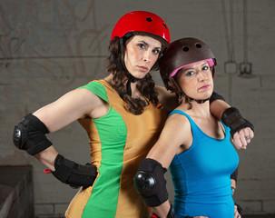 Confident Roller Derby Skating Partners