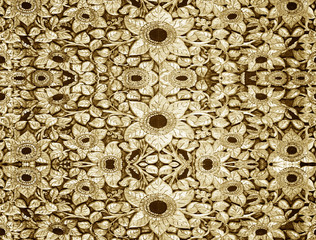 Carved wood gold wall