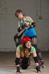 Female Twisting Roller Derby Skater's Leg