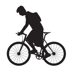 Silhouette man ride the bicycle, vector format