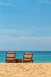 Leinwanddruck Bild - empty sunbeds on a gorgeous sandy beach