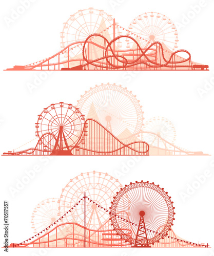 Horizontal lines of roller-coaster and Ferris Wheel.