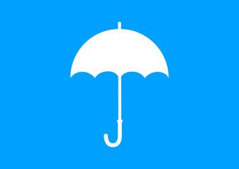White umbrella icon on blue background