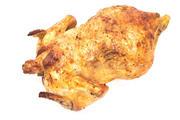 Whole roasted chicken isolated on white