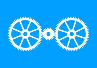 White industrial icon on blue background