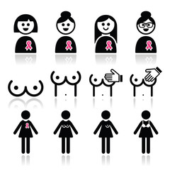 Breast cancer, woman with pink ribbon icons set