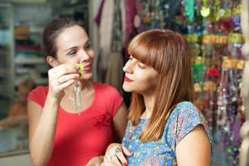 Shopping in a accessory boutique