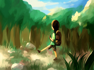 digital painting forest walk travel