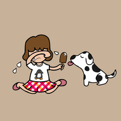 Girl cry and share ice cream with dog