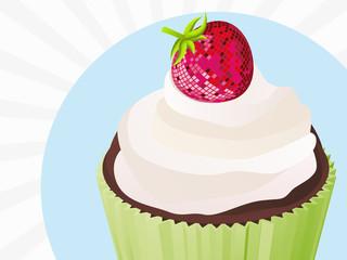 cupcake fraise disco