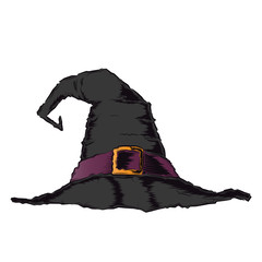 Black creepy witch hat with violet belt