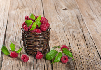 basket with fresh raspberries