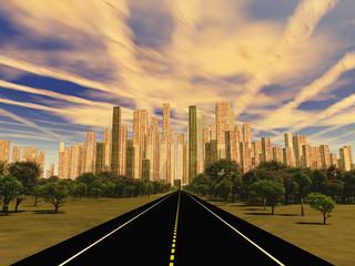 Road to city under alien sky
