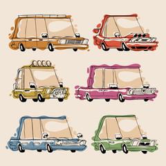 Retro Cartoon Cars Set