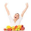 Cheerful woman with fruits