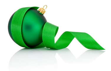 Green Christmas ball covered with curled ribbon Isolated on whit