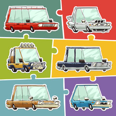 Cartoon Cars Stickers Set