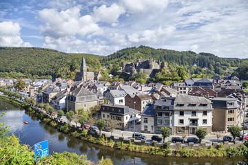 View from hill on belgian city La Roche-en-Ardenne