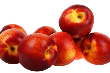 Delicious red and yellow peaches