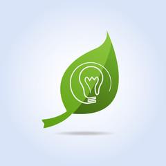 Bulb Light Icon Symbol on Green Leaf Vector