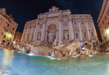 Water smooth movement of Trevi fountain, Rome