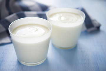 Homemade yogurt on blue background