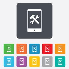 Smartphone repair sign icon. Service symbol.