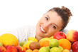 Happy woman and fruits