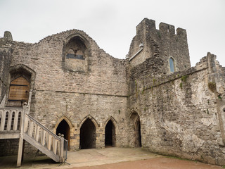 Courtyard inside ruins of Chepstow Castle, Wales