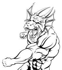Dragon mascot punching