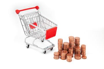 carro supermercado y dinero