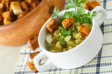 vegetable soup with pickled cucumbers