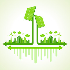 Ecology concept solar panel - vector illustration