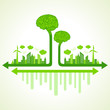 Ecology concept with eco brain - vector illustration