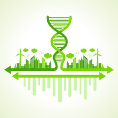 Ecology concept with DNA strand - vector illustration