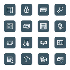 Finance and Banking web icons, navy square buttons