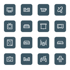 Home Appliance web icons, navy square buttons